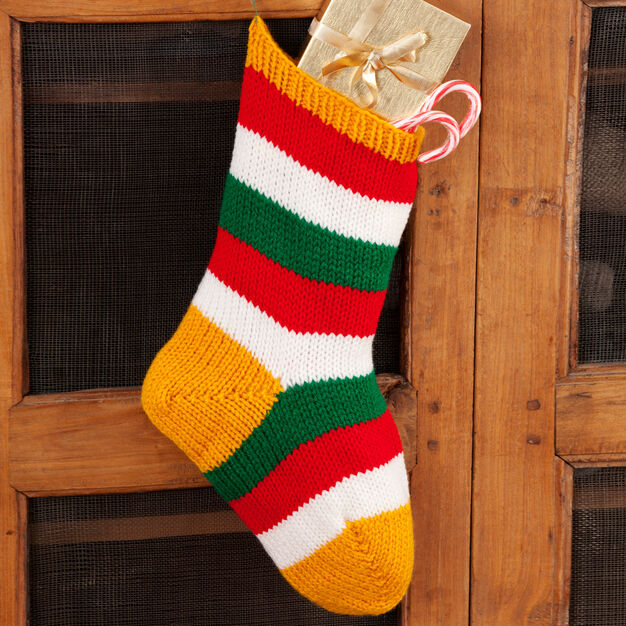 Red Heart Striped Holiday Stocking in color