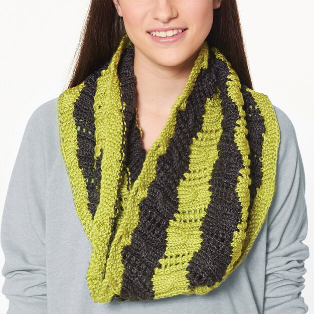 Caron Snakes and Ladders Cowl in color