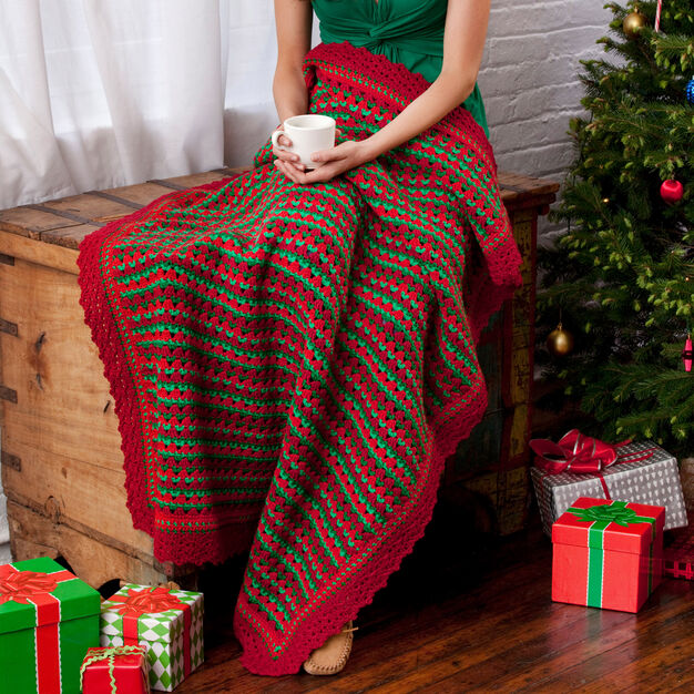 Red Heart Holiday Striped Throw in color