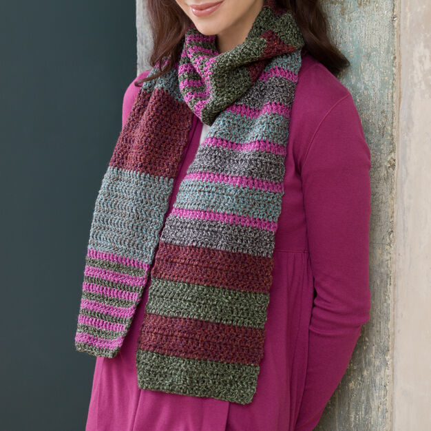 Red Heart Easy Striped Scarf