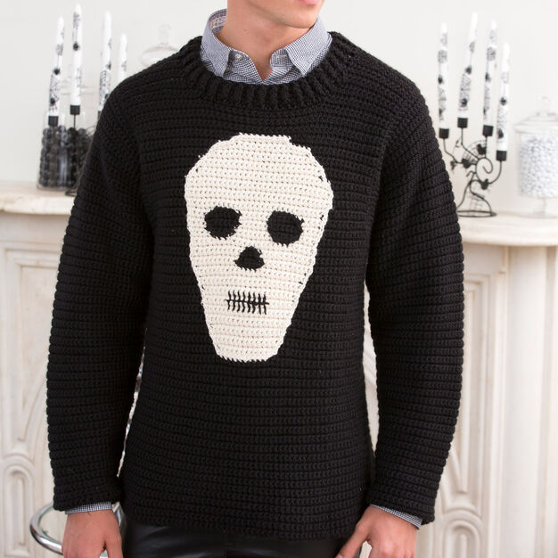 Red Heart Skull Sweater, S in color
