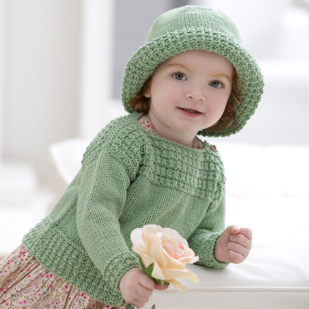 Red Heart Baby Boat Neck Sweater and Sun Hat, 6 mos in color
