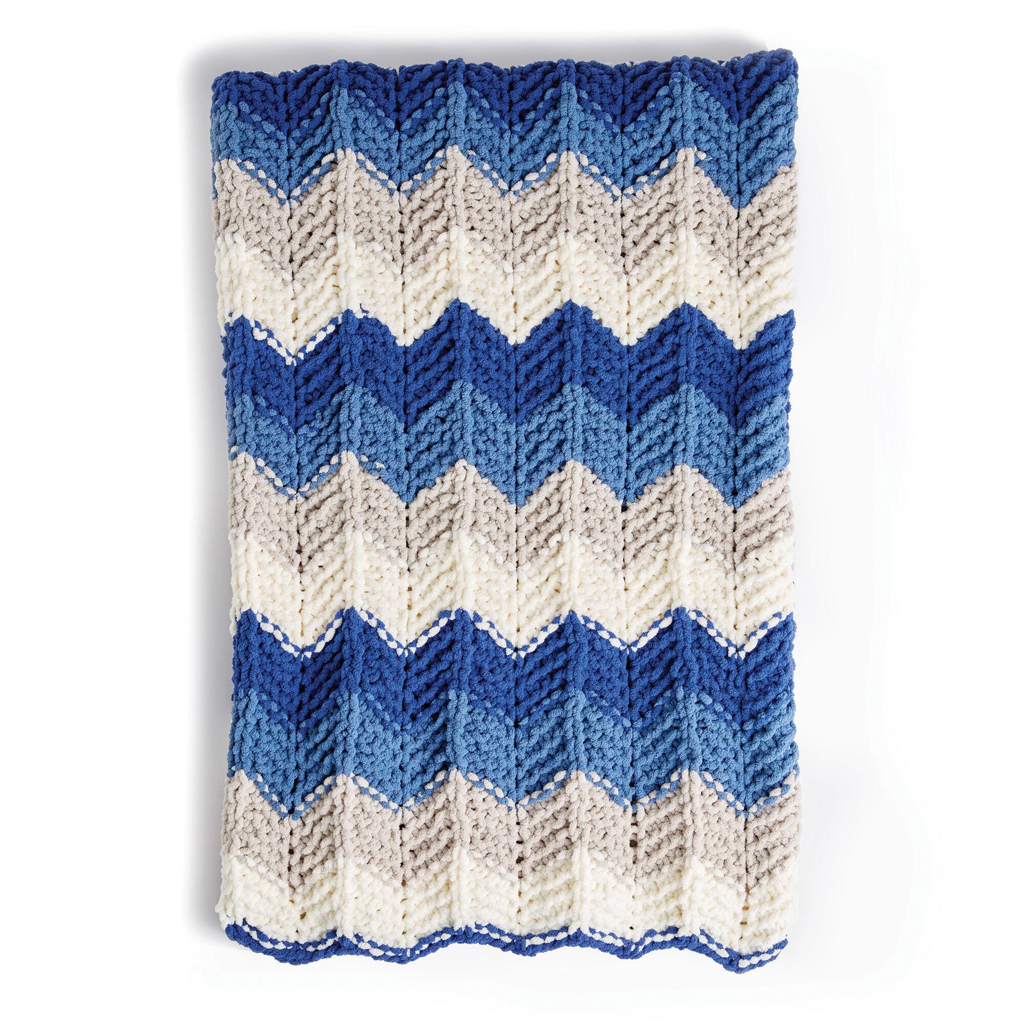 Bernat Radiant Ripple Knit Blanket Pattern | Yarnspirations ...