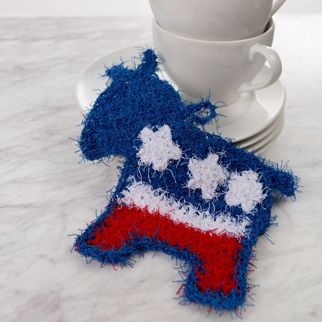 Red Heart Patriotic Donkey Scrubby in color