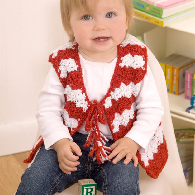 Red Heart Baby Candy Stripe Vest, 6 mos in color