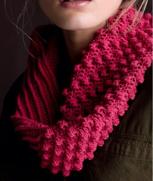 Red Heart Ridge Cowl in color