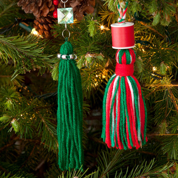 Red Heart Tassels for Your Tree, Emerald Green Glitter Tassel in color