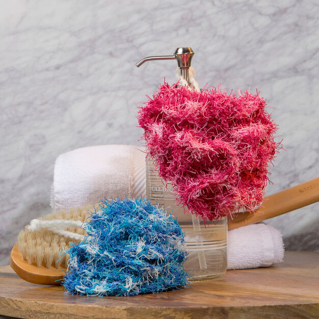 Red Heart Scrubby Bath Poufs in color