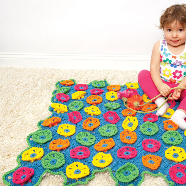 Red Heart Blossom Blanket in color