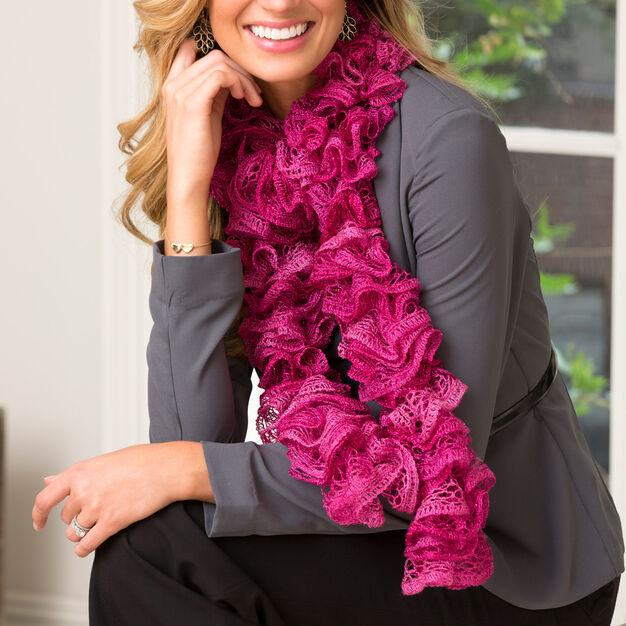 Red Heart Ritzy Ruffle Scarf , 38'' in color