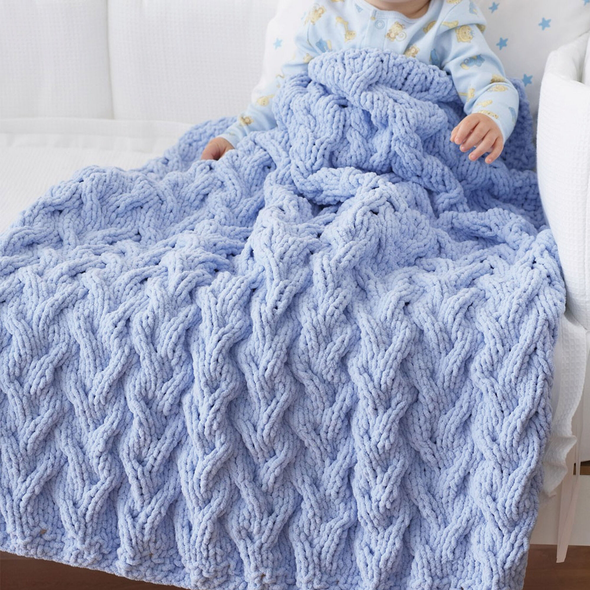 Bernat Shadow Cable Baby Blanket Pattern | Yarnspirations
