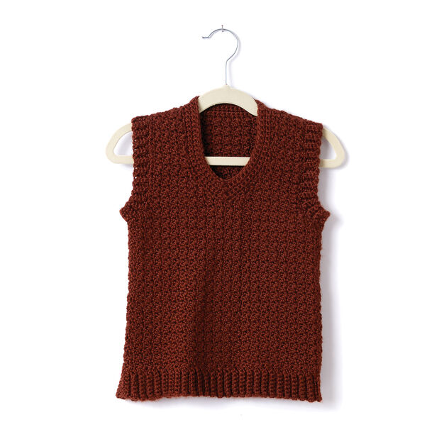 Caron Adult Crochet V-Neck Vest, XS/S