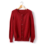Caron Adult Knit Crew Neck Cardigan, XS/S