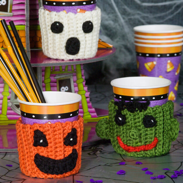 Red Heart Spooky Cup Cozies in color