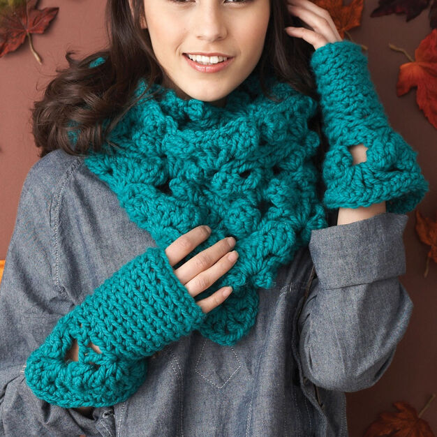 Bernat Cowl & Fingerless Mitten Set, Cowl in color