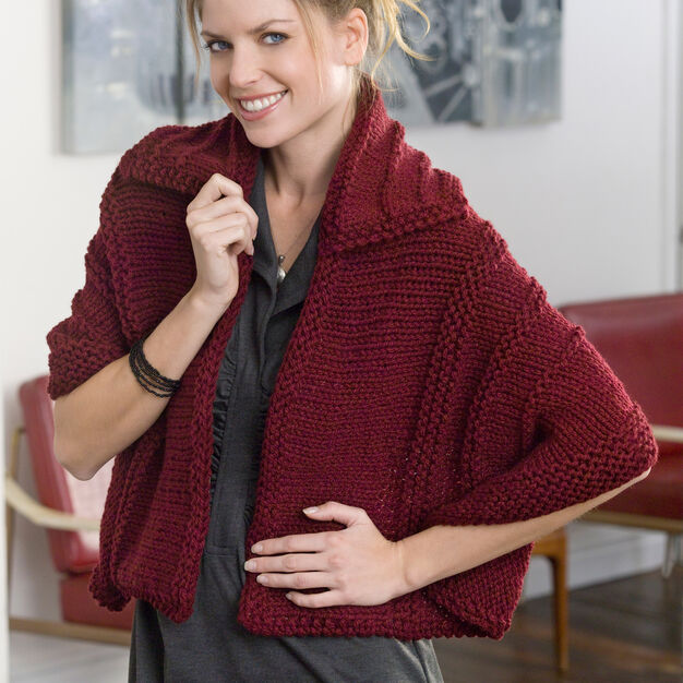 Red Heart Collared Shawl in color