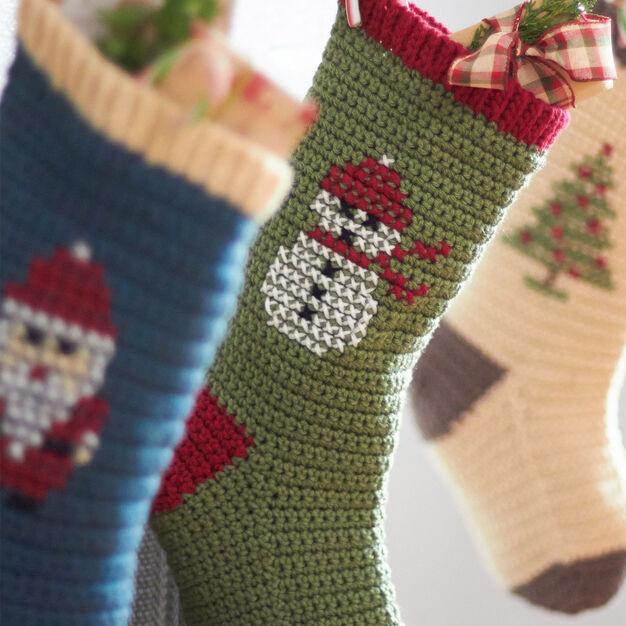 Bernat Cross Stitch Christmas Stockings, Snowman
