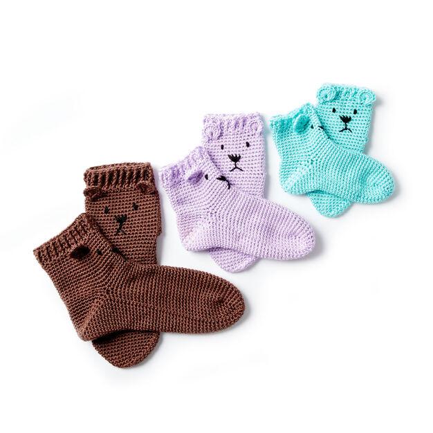 Caron Crochet Bear Feet Slipper Socks Robins Egg Men Yarnspirations