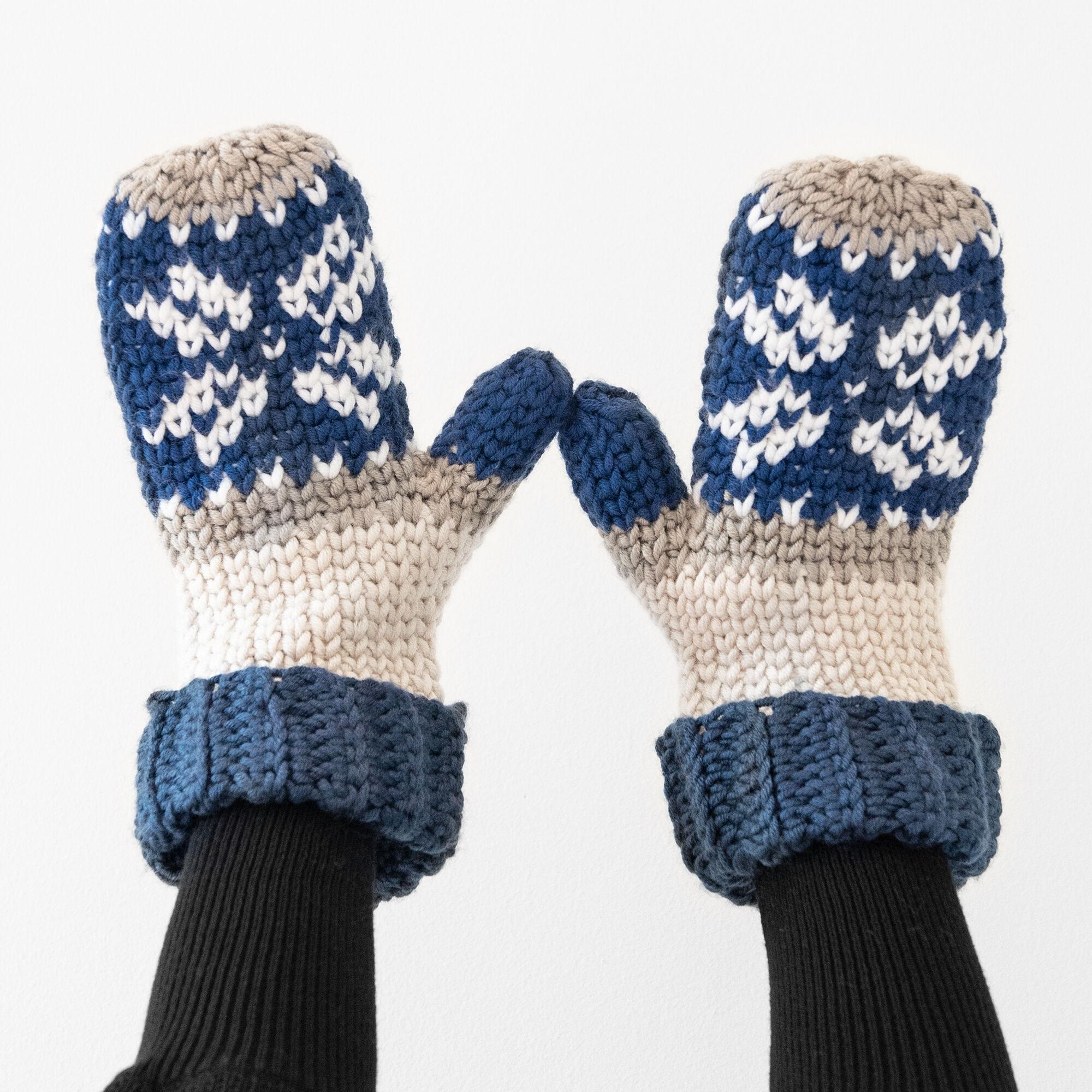 Caron x Pantone Fair Isle Crochet Mittens Pattern | Yarnspirations