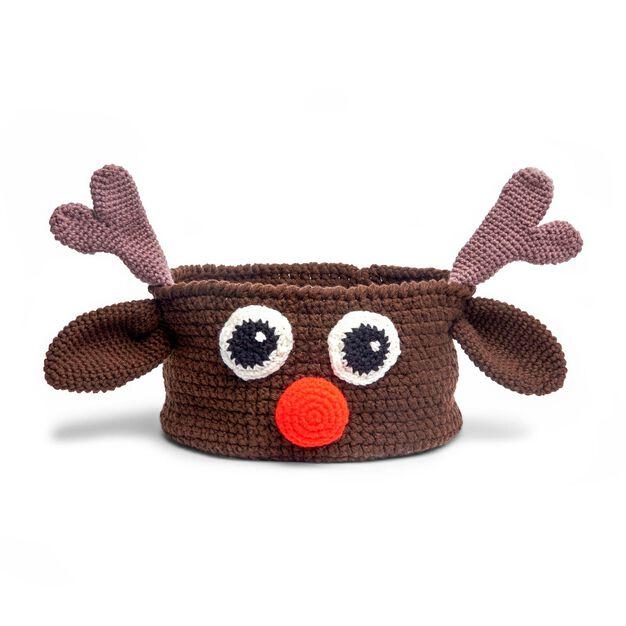 Red Heart Reindeer Crochet Basket in color