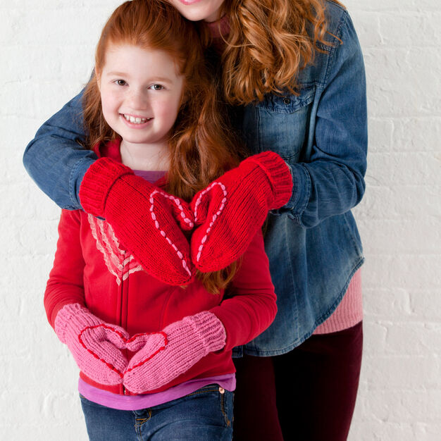 Red Heart Mom & Daughter Love Mitts, Child in color