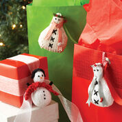 Lily Sugar'n Cream Snowmen Ornaments, Knit Scarf Snowman