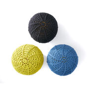 Bernat Ridge Stitch Crochet Pouf, Dusk Blue