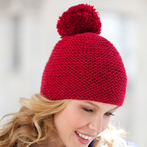 Red Heart Great Garter Knit Hat in color