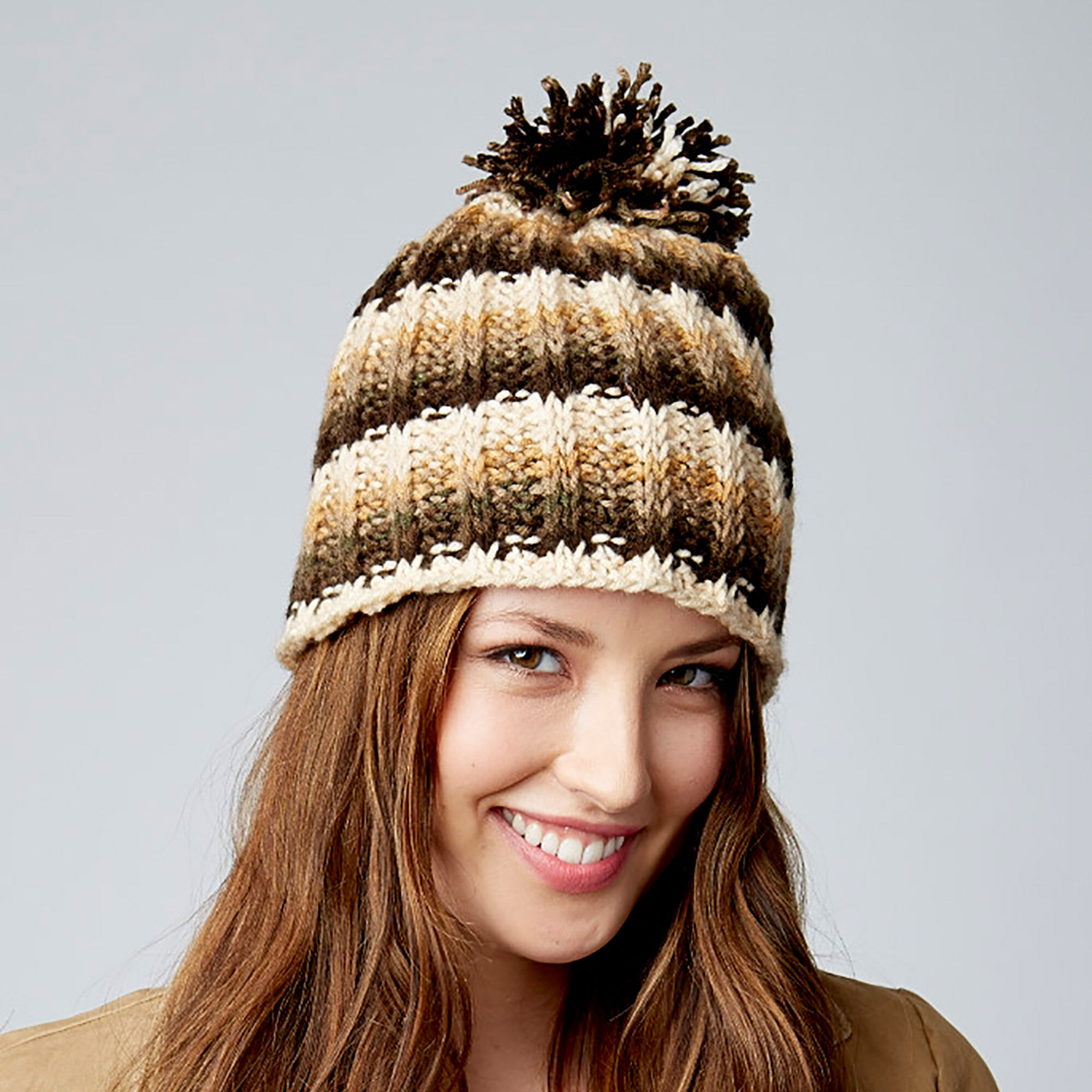 Bernat Tunisian Ribbed Hat | Yarnspirations