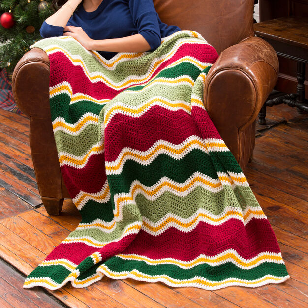 Red Heart Holiday Chevron Throw in color
