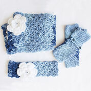 Caron Cozy Posy Set (Headband, Fingerless Gloves, Scarf), Saturday Blue Jeans