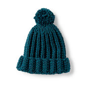 Bernat Basic Knit Ribbed Family Hat, Gary Ragg - Size 2/4 yrs