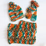 Bernat Chill Chaser Set (Hat, Mittens, Cowl), Green in color