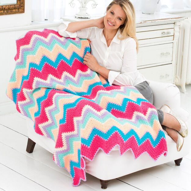 Red Heart Sherbet Ripple Throw in color