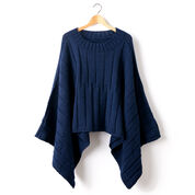 Patons Reversible Ribbed Knit Poncho, XS/S/M