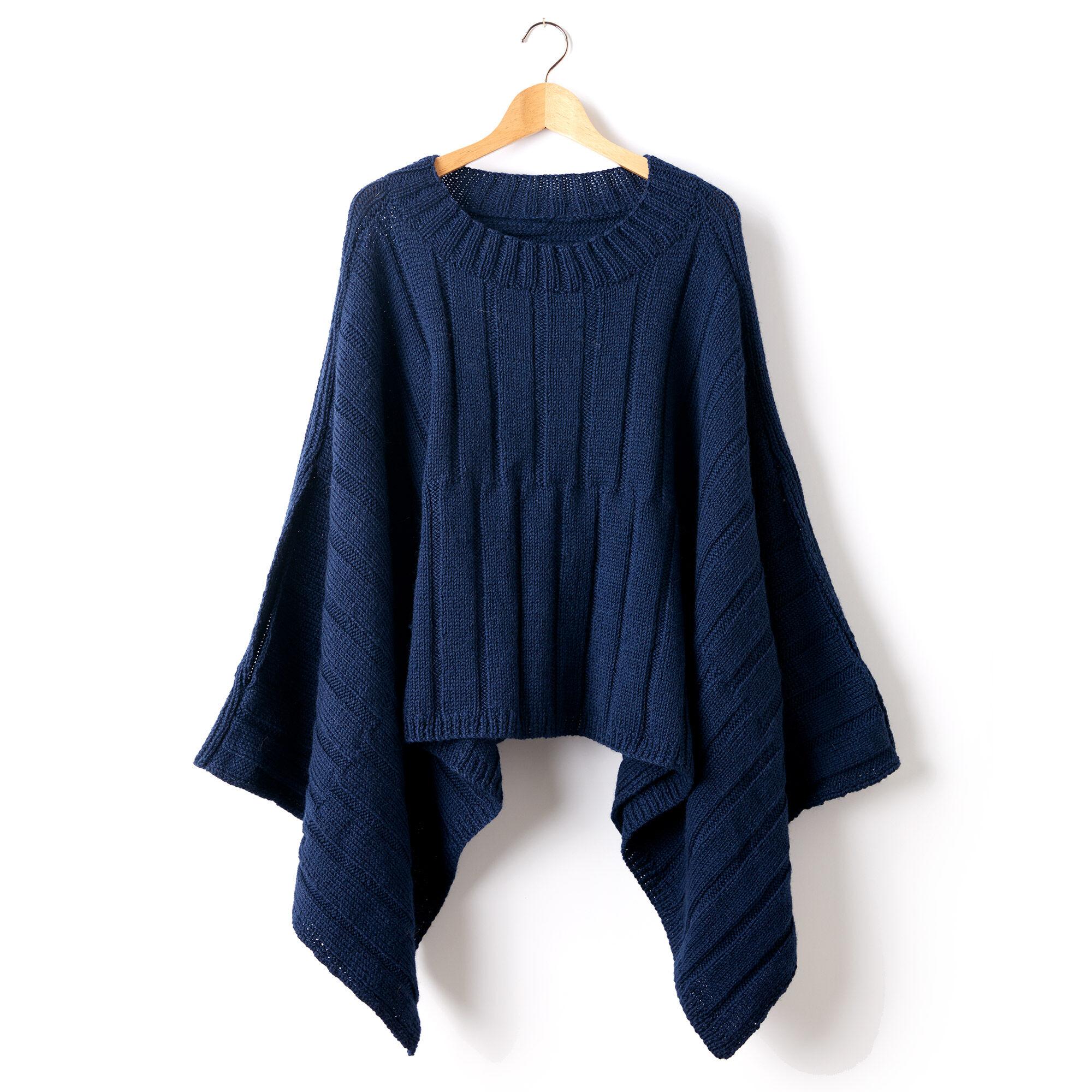 Patons Reversible Ribbed Knit Poncho, XS/S/M | Yarnspirations
