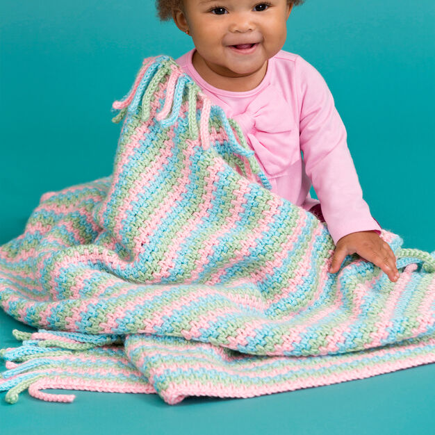 Red Heart Pretty in Pastels Baby Blanket in color