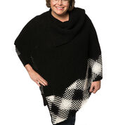 Red Heart Planned Pooling Argyle Poncho, S/M