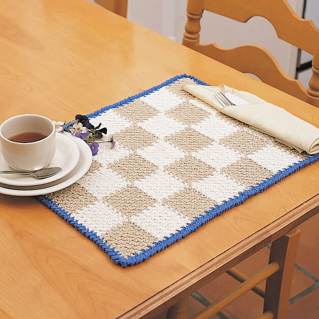 Lily Sugarn Cream Checkerboard Placemats Yarnspirations