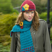 Red Heart Garden Lattice Scarf Hat & Brooch Set