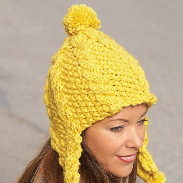 Bernat Golden Glow Earflap Hat Pattern Yarnspirations