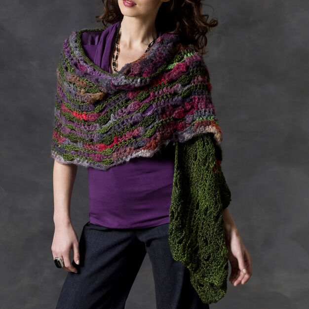 Red Heart Musical Shells Shawl in color