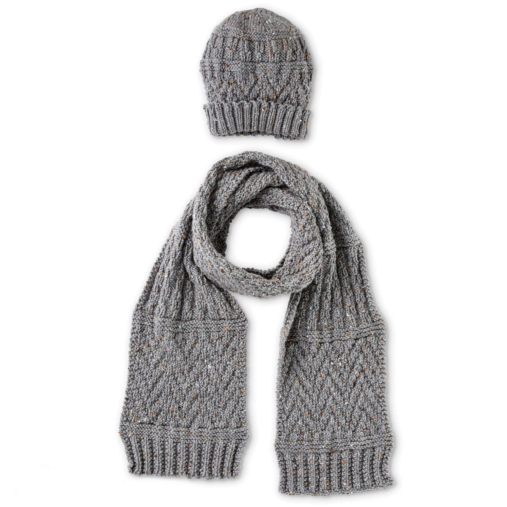 Caron Guernsey Textures Knit Hat and Scarf | Yarnspirations