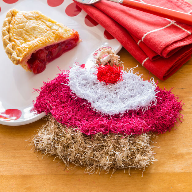 Red Heart Cherry Pie Scrubby in color