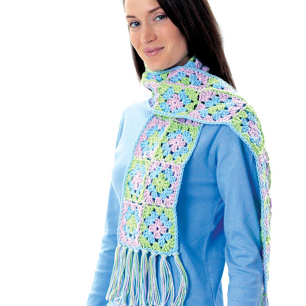 Lily Sugar'n Cream Granny Square Scarf