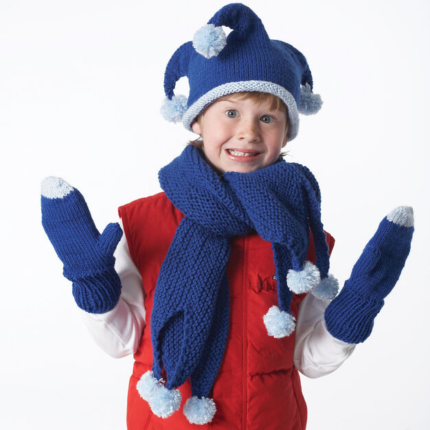 Bernat Jester Hat, Mittens and Scarf, Mittens - 2-4 yrs in color