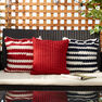 Bernat Nautical Stripe Crochet Pillows, Fresh Red Stripe