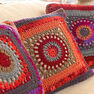 Red Heart Circle in the Square Pillows in color