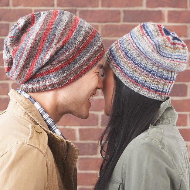 basic beanie knitting pattern from yarnspirations using Paton's Kroy sock yarn.