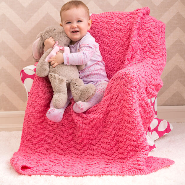 Red Heart Knit Chevron Baby Blanket in color
